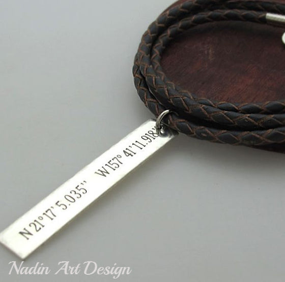 Custom engraved long tag necklace