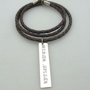Custom Latitude Longitude GPS Coordinates Necklace