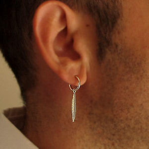 Feather Earring for men - Mens Pendant Earring silver feather