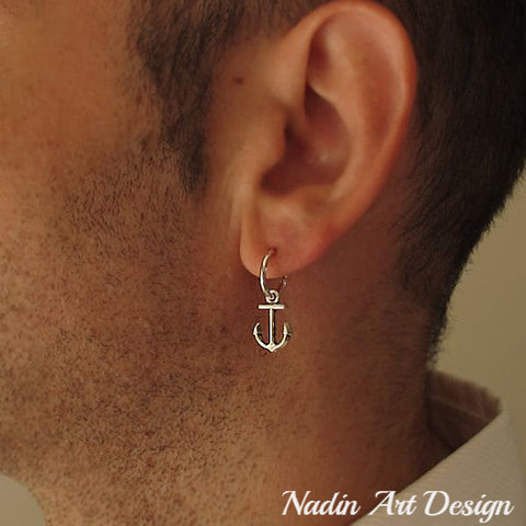 anchor mens earring