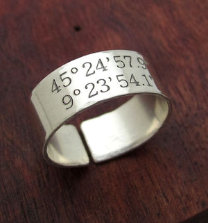 Custom GPS Coordinates Ring - Sterling Silver Band