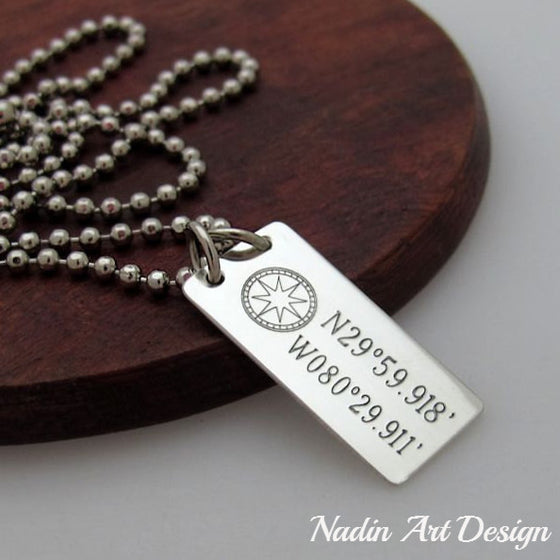 Compass Latitude Longitude Necklace - Nautical Pendant