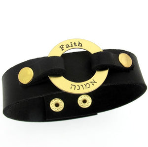 Handwriting Custom Leather Bracelet for Him