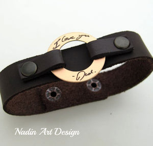 Leather Handwriting Bracelet for Men - Dad signature bracelet