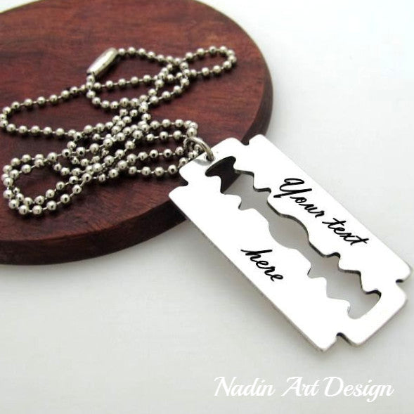 razor blade pendant necklace