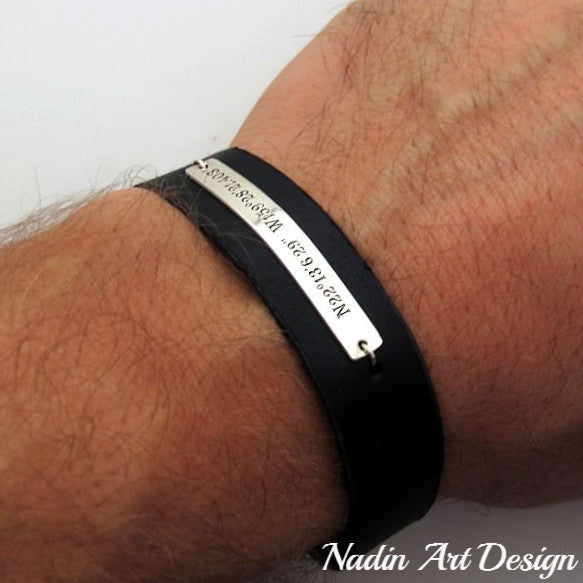 Leather cuff with GPS coordinates