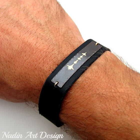 Custom Sound Wave Leather Bracelet for Him