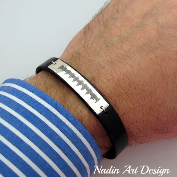 Custom EKG Heartbeat Bracelet for Men