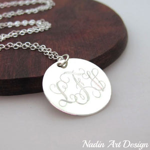 Monogram pendant silver necklace