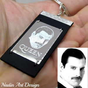 Photo engraved leather keychain