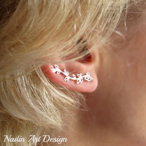 Leaf ear cuff silver earring
