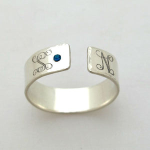 Birthstone Ring - Custom Sterling Silver Monogram Ring