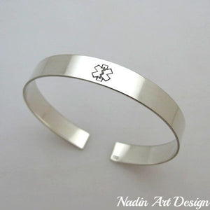 Medical id sterling silver cuff bracelet
