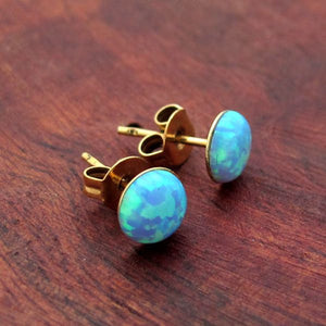 Blue Opal Gold Stud Earrings