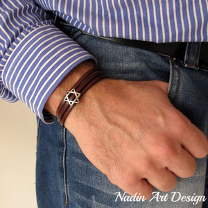 Star of David Cords bracelet for men - Jewish gift idea - Jewish Jewelry for men