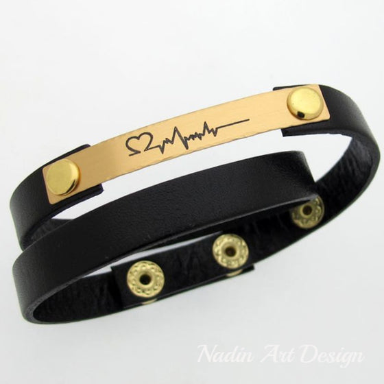 Heart Beat Bracelet for Men - Leather Cuff for him