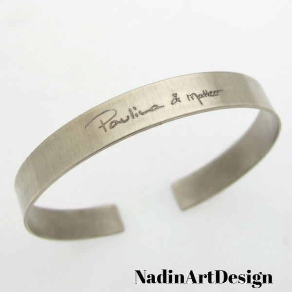 Handwriting Bracelet for men - custom mens cuff in silver - mens bracelet