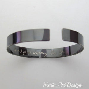Handwriting Bracelet for men, Black Custom Text Signature Cuff  - Personalized Mens Gift