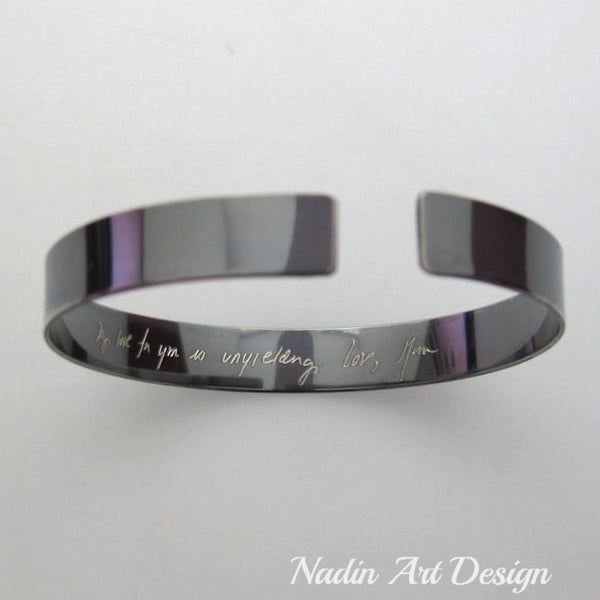 Handwriting Bracelet for men, Black Custom Text Signature Cuff