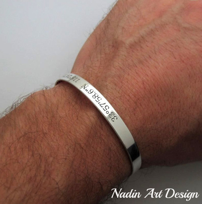 ca778f2280d1a GPS Coordinates Personalized Bracelet for Men - Sterling Silver Cuff ...
