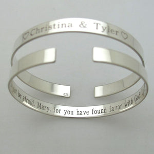 Special Gift - Personalized Silver Thin Stacking Bracelet