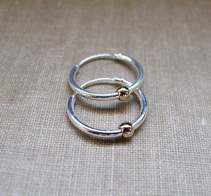 Custom order - 2 pieces - 10mm and 12mm - Silver earrings with Gold Bead