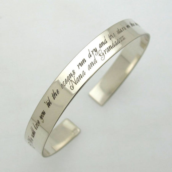 Inspirational cuff bracelet - Sterling Silver Cuff - long text engraved cuff