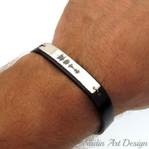 Sound Waves Leather Bracelet for Men