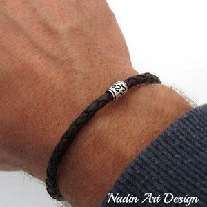 Braided leather bracelet with connector