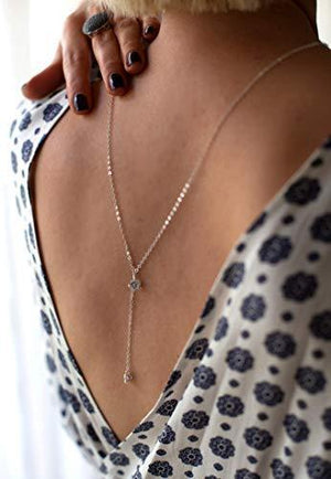 Sterling Silver Y Lariat necklace.  Back Jewelry