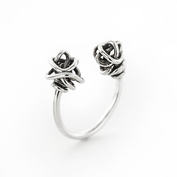Open edgy silver ring