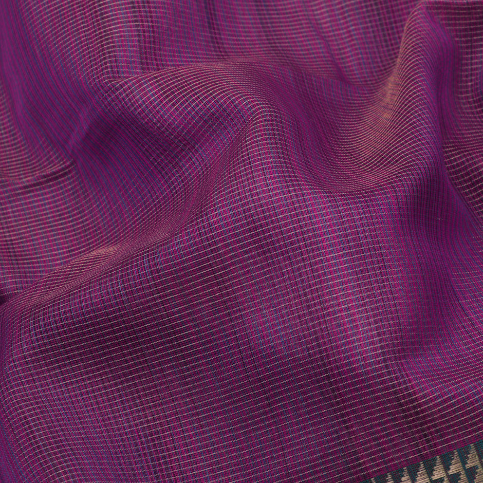 Ecoloom Maheshwari Silk/Cotton Sari 017-02-1448- Fabric View