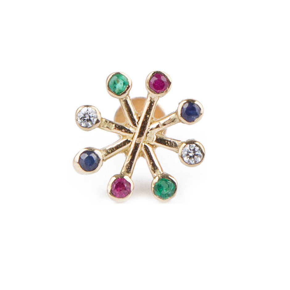 Ahalya Gold, Ruby, Emerald, Blue Sapphire & Diamond Nosepin 0208090023A1 - Cover View