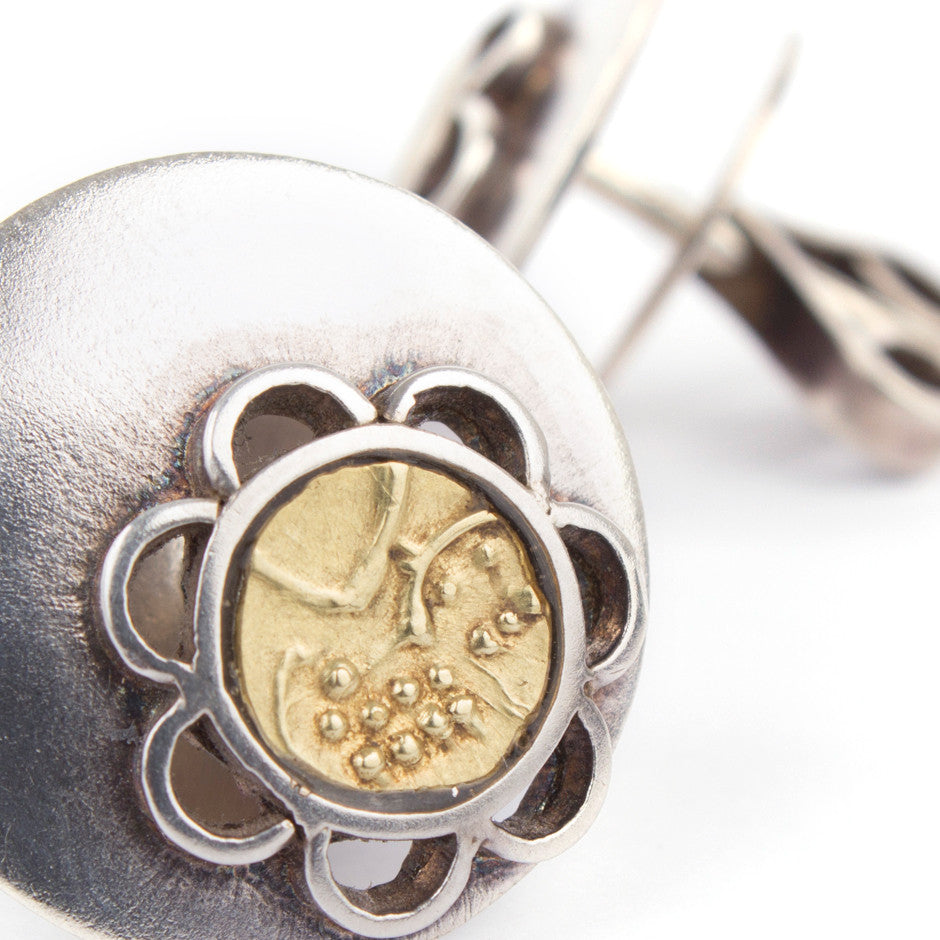 Ahalya Silver & Gold Coin Earrings 0207060009A1 - Detailed View