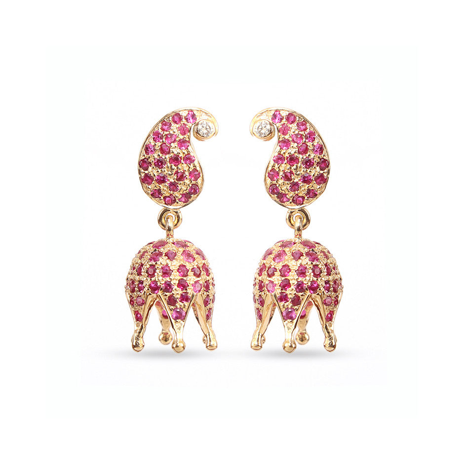 Ahalya Gold Diamond & Ruby Baby Earrings 3_4976 - Cover View