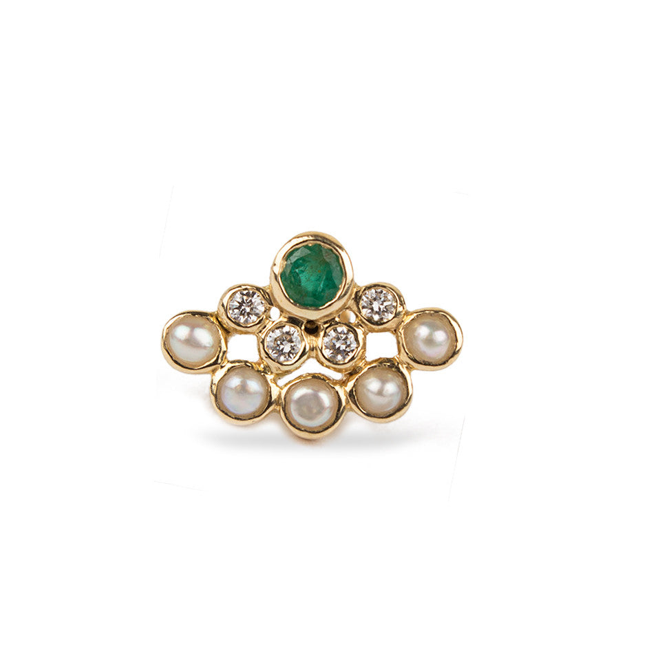 Ahalya Gold, Emerald, Pearl & Diamond Nosepin 0208090017A1 - Cover View