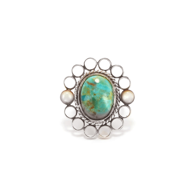 Ahalya Silver, Mop Round & Turquoise Ring 14_2653 - Cover View