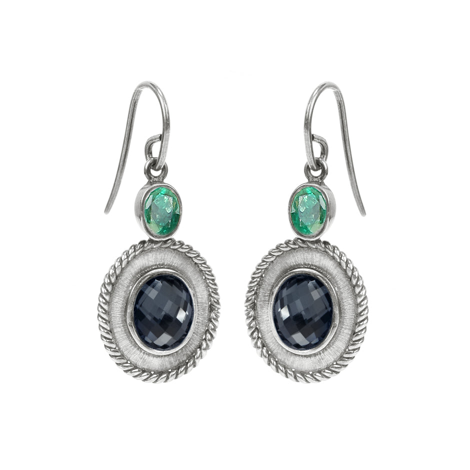 Ahalya Silver White Quartz/Hematite & Emerald Cut Earring 13_2406  - Cover View