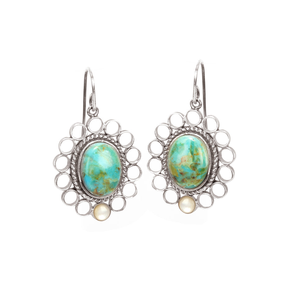 Ahalya Silver Mop Round &  Turquoise Earring 13_2648 - Cover View