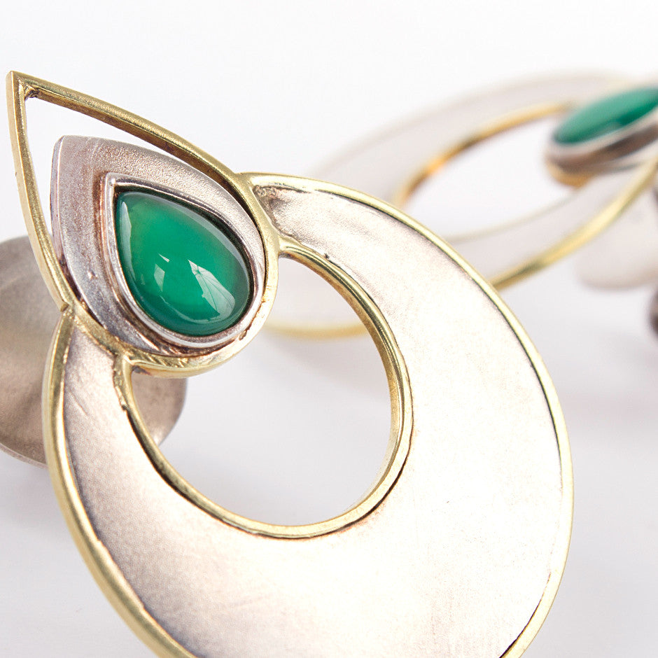 Ahalya Silver, Gold & Green Onyx Earrings 0207060016A1 - Detailed View
