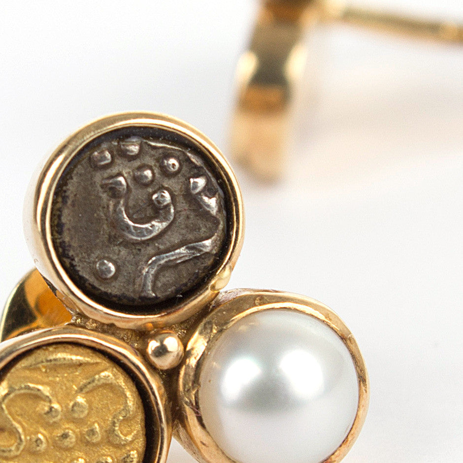Ahalya Gold, Silver coin, Gold Coin & Keshi Pearl Earrings 0208060019A1 - Detailed View