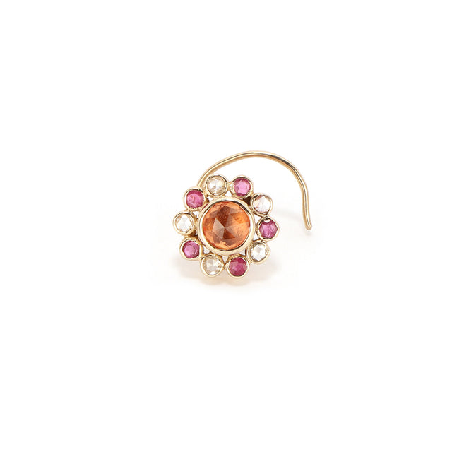Ahalya Gold,Orange Sapphire,Ruby Cut & Rosecut Diamond Nosepin 8_5539 - Cover View