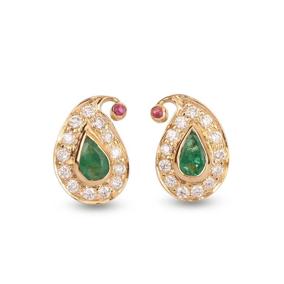 Ahalya Gold, Diamond & Precious Gems Earrings 3_4951 - Cover View