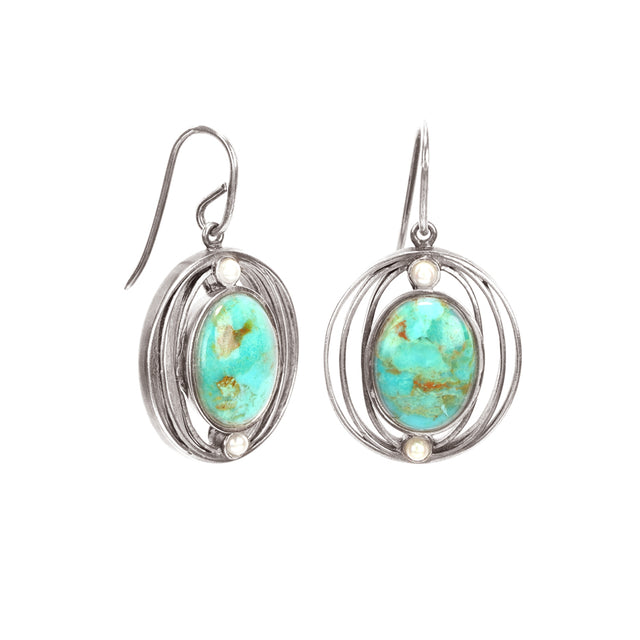 Ahalya Silver Turquoise & Keshi Pearl Earring 13_2779 - Cover View