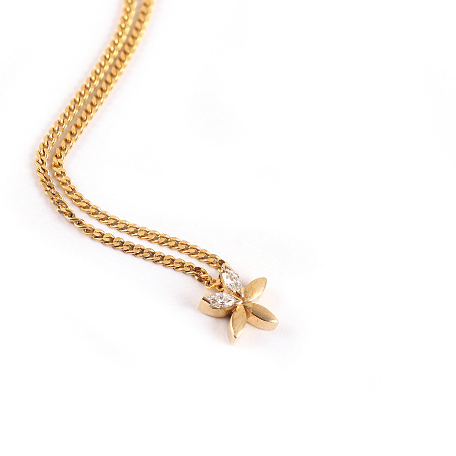 Ahalya Gold & Marq. Diamond Baby Pendant With Chain 0208070001A1 - Straight View