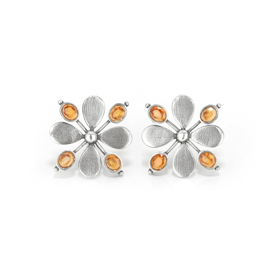 Ahalya Silver & Orange Sapphire Earring 13_2199 - Cover View