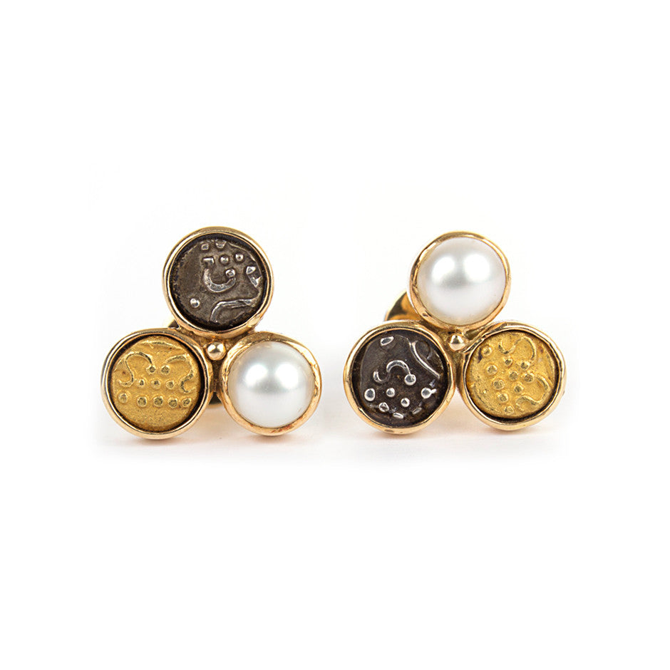 Ahalya Gold, Silver coin, Gold Coin & Keshi Pearl Earrings 0208060019A1 - Cover View