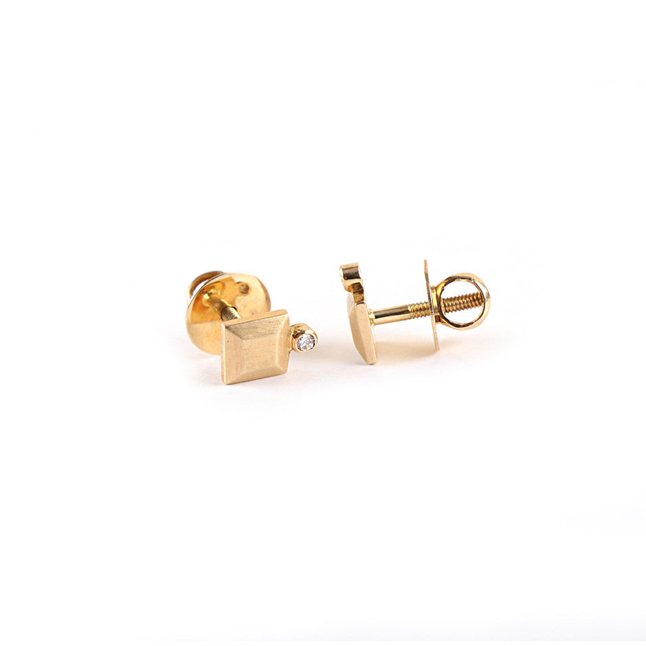 Ahalya Gold & Diamond Baby Earrings 0208060036A1 - Screw View