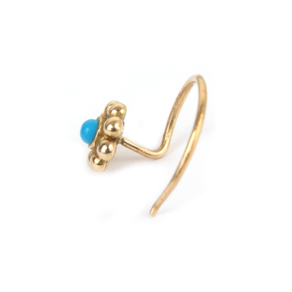 Ahalya Gold & Turquoise Nosepin 0208090032A1 - Screw View
