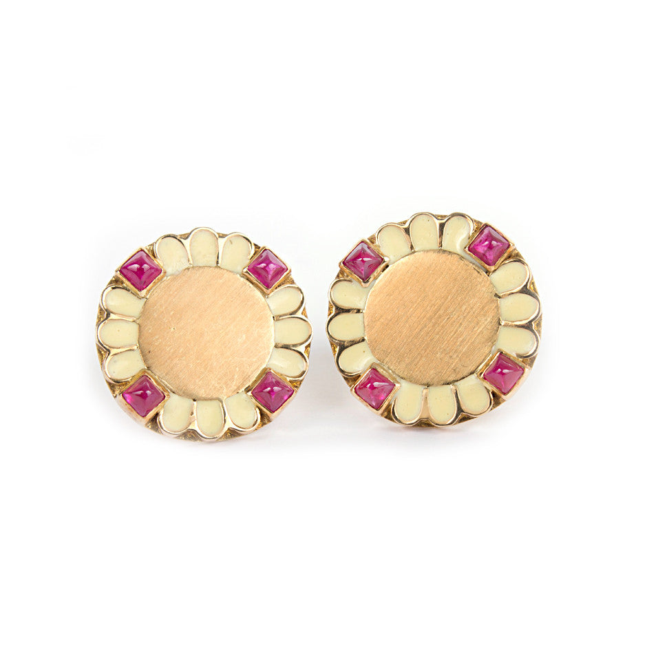 Ahalya Gold, Ruby Cob & Enamel Earrings 0208060024A1 - Cover View